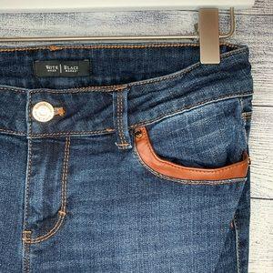 White House Black Market Jeans - White House Black Market faux leather trim skinny